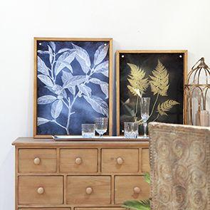 Tableau imprimé sur verre motifs botaniques