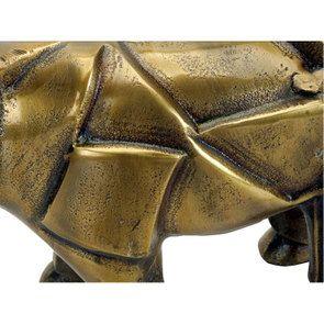 Statue rhinocéros en métal laitonné - Visuel n°4