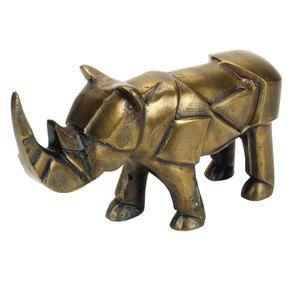 Statue rhinocéros en métal laitonné - Visuel n°3