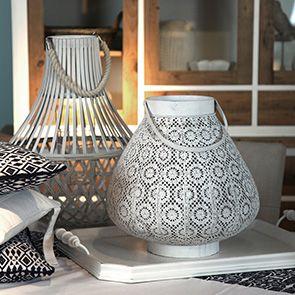 Lanterne blanche en métal