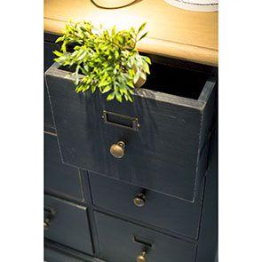 Buffet noir 18 tiroirs en pin massif - Manoir - Visuel n°5