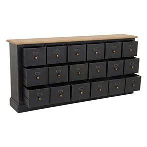 Buffet noir 18 tiroirs en pin massif - Manoir - Visuel n°3