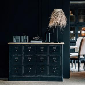 Buffet noir 12 tiroirs en pin massif - Manoir - Visuel n°3