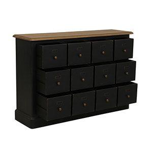 Buffet noir 12 tiroirs en pin massif - Manoir - Visuel n°7