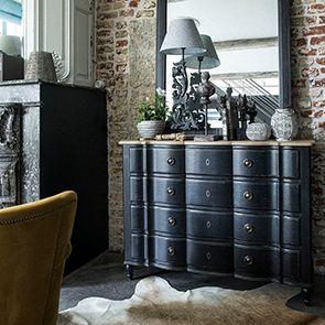 Commode noire 4 tiroirs en pin massif - Manoir - Visuel n°3