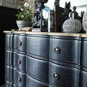 Commode noire 4 tiroirs en pin massif - Manoir - Visuel n°4