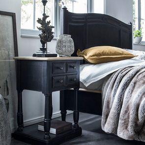 Table de chevet 2 tiroirs noire en pin massif - Manoir