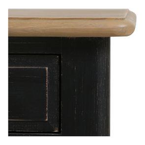 Table de chevet 2 tiroirs noire en pin massif – Manoir - Visuel n°3
