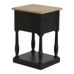 Table de chevet 2 tiroirs noire en pin massif – Manoir - Visuel n°8