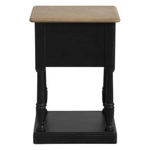 Table de chevet 2 tiroirs noire en pin massif – Manoir - Visuel n°9