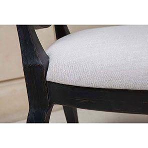 Chaise médaillon noire en hévéa et tissu - Manoir - Visuel n°6