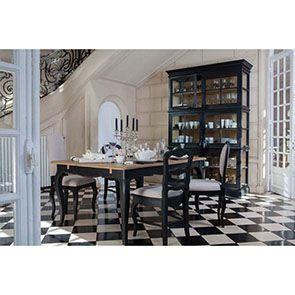 Chaise médaillon noire en hévéa et tissu - Manoir - Visuel n°3