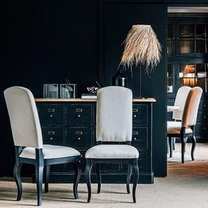Chaise noire en hévéa massif et tissu - Manoir - Visuel n°3