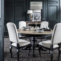 Table ronde extensible en pin 6 à 8 personnes - Manoir