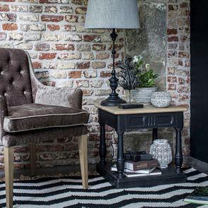 Bout de canapé 1 tiroir en pin massif noir – Manoir