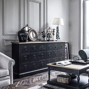 Table basse carrée noire en pin - Manoir - Visuel n°3