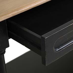 Table drapier 2 tiroirs en pin noir vieilli - Manoir - Visuel n°8