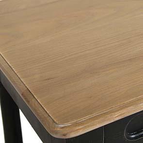 Table drapier 2 tiroirs en pin noir vieilli - Manoir - Visuel n°9
