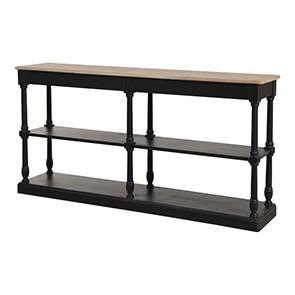 Table drapier 2 tiroirs en pin noir vieilli - Manoir - Visuel n°4