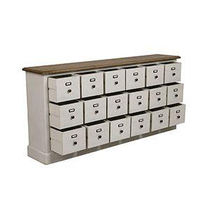 Buffet blanc 18 tiroirs en pin massif - Manoir - Visuel n°2