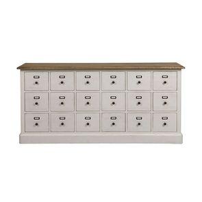 Buffet blanc 18 tiroirs en pin massif - Manoir - Visuel n°1