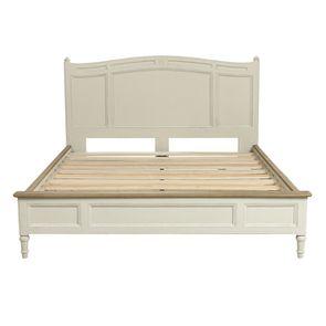 Lit 2 places 160x200 cm en bois blanc vieilli - Manoir - Visuel n°3