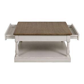 Table basse carrée blanche en pin - Manoir - Visuel n°5