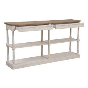 Table drapier 2 tiroirs en pin blanc vieilli - Manoir - Visuel n°2