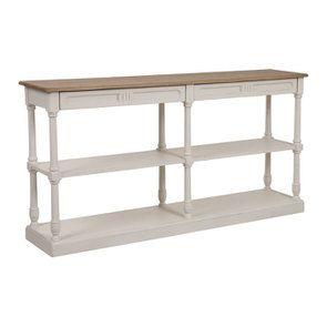 Table drapier 2 tiroirs en pin blanc vieilli - Manoir - Visuel n°3