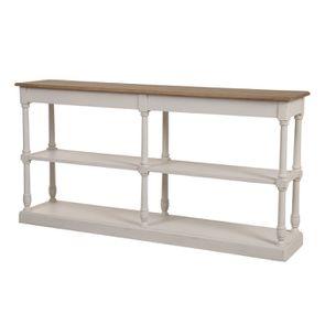 Table drapier 2 tiroirs en pin blanc vieilli - Manoir - Visuel n°5