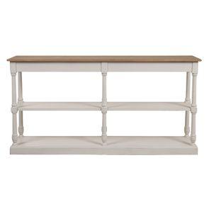 Table drapier 2 tiroirs en pin blanc vieilli - Manoir - Visuel n°6