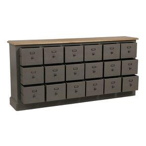Buffet taupe 18 tiroirs en pin massif - Manoir - Visuel n°3