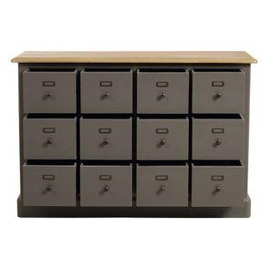 Buffet taupe 12 tiroirs en pin massif - Manoir - Visuel n°2