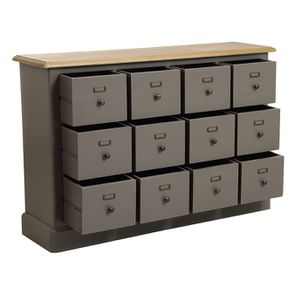 Buffet taupe 12 tiroirs en pin massif - Manoir - Visuel n°3