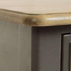 Table de chevet 2 tiroirs taupe en pin massif - Manoir - Visuel n°8