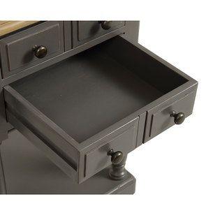 Table de chevet 2 tiroirs taupe en pin massif - Manoir - Visuel n°10