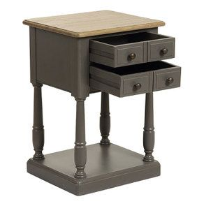 Table de chevet 2 tiroirs taupe en pin massif - Manoir - Visuel n°2
