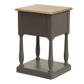 Table de chevet 2 tiroirs taupe en pin massif - Manoir - Visuel n°4