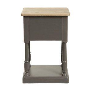 Table de chevet 2 tiroirs taupe en pin massif - Manoir - Visuel n°5