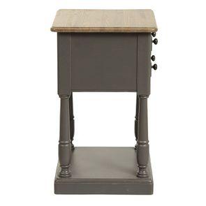 Table de chevet 2 tiroirs taupe en pin massif - Manoir - Visuel n°6