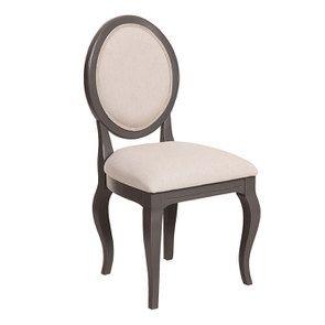 Chaise médaillon taupe en hévéa et tissu - Manoir - Visuel n°2