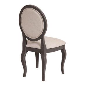 Chaise médaillon taupe en hévéa et tissu - Manoir - Visuel n°3