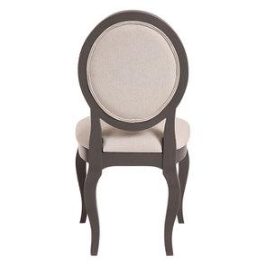 Chaise médaillon taupe en hévéa et tissu - Manoir - Visuel n°4