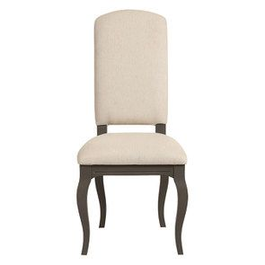 Chaise taupe en hévéa massif et tissu - Manoir