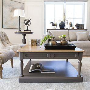 Table basse carrée taupe en pin - Manoir - Visuel n°2