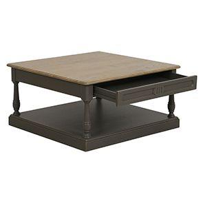 Table basse carrée taupe en pin - Manoir - Visuel n°7