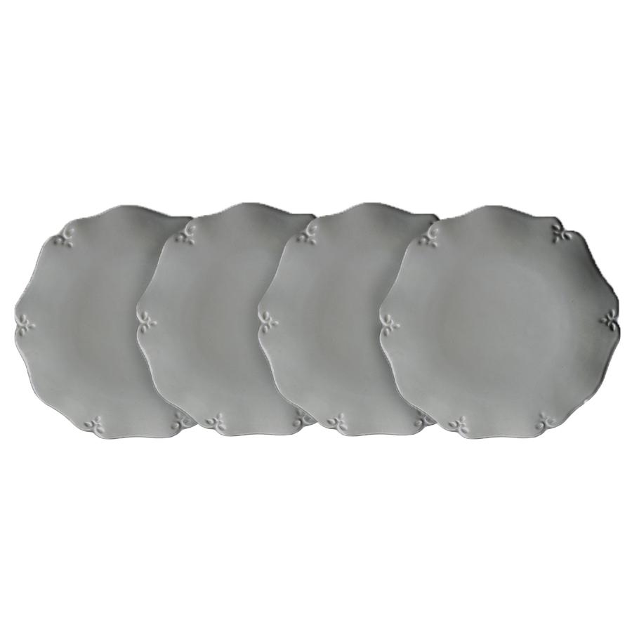 Assiettes à dessert grises en céramique (lot de 4)