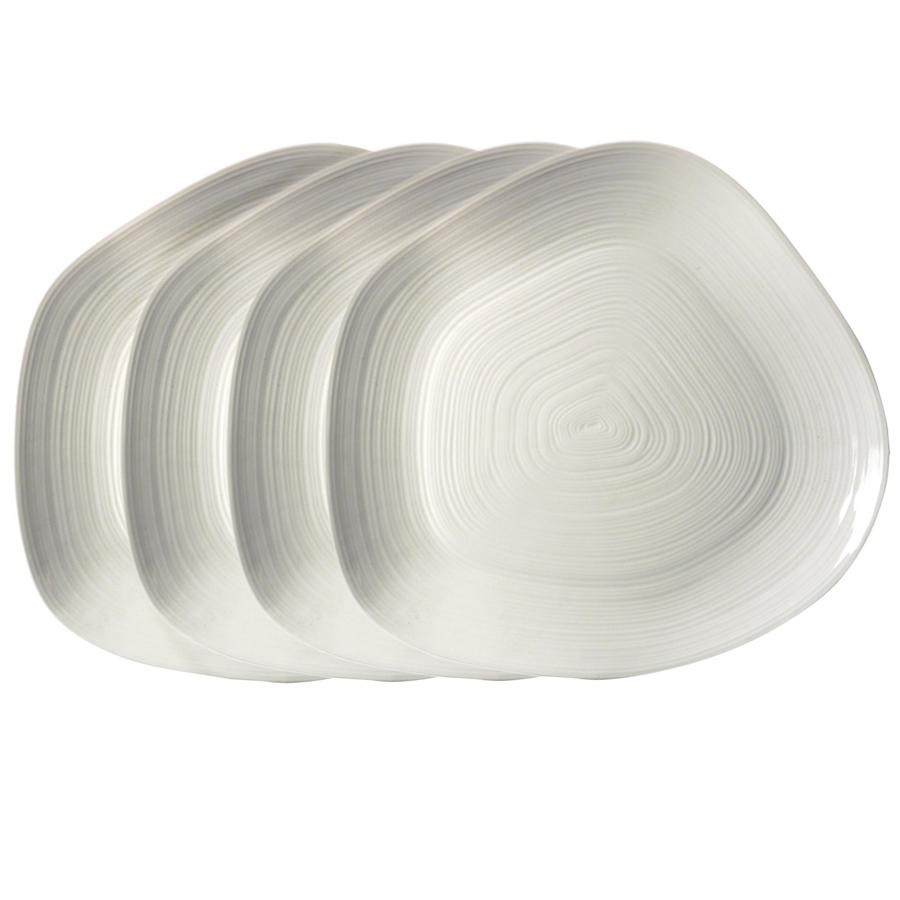 Assiettes plates en porcelaine (lot de 4)