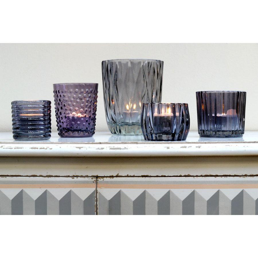 Photophores en verre gris (lot de 4)