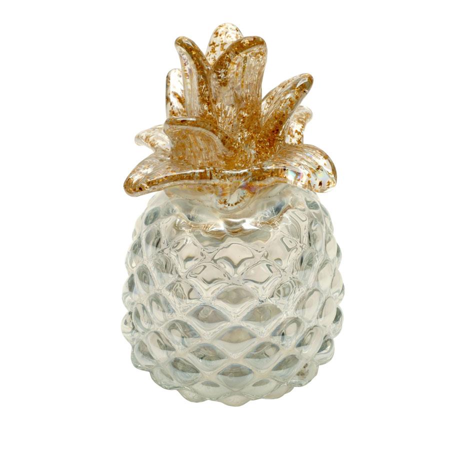 Statuette ananas en verre soufflé à la bouche